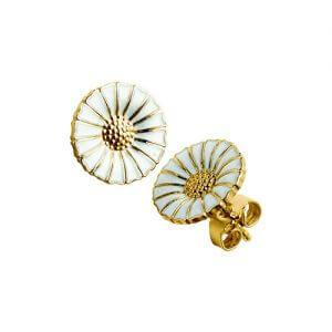 Georg jensen, marguerit, daisy, ørestikker, øreringe, porcelæn, emalje, forgyldt, sølv